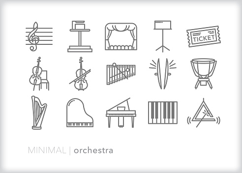 Orchestra performance line icon set