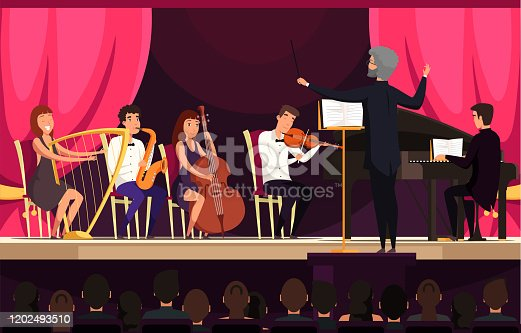 istock Orchestra performance on stage vector illustration 1202493510