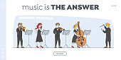 istock Orchestra Playing Music Landing Page Template. Conductor and Musicians Characters with Instruments Performing on Stage with Violin, Flute, Cello, Trumpet. Linear Vector People Vector Illustration 1225363720
