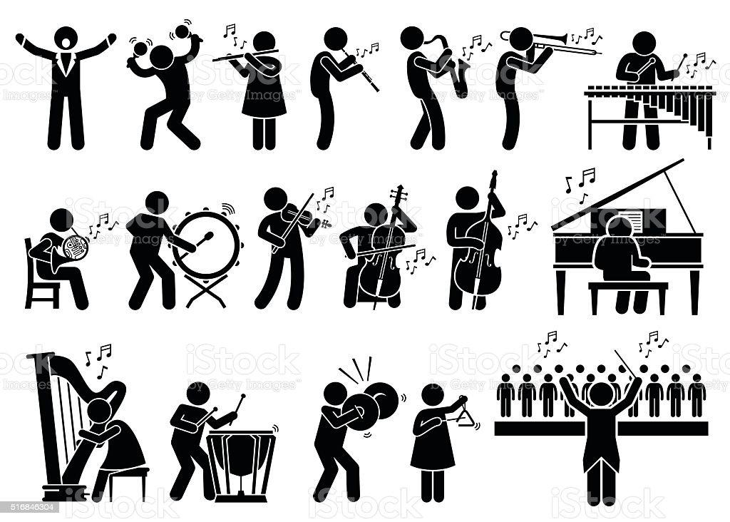 オーケストラの奏でるミュージシャンと楽器イラスト アイコンの