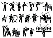 Vector set stick figure man pictogram showing orchestra music player playing musical instrument of violin, cello, drum, piano, timpani, cymbals, maracas, flute, saxophone, trumpet, conductor, harp, oboe, xylophone, viola, double bass, French horn.