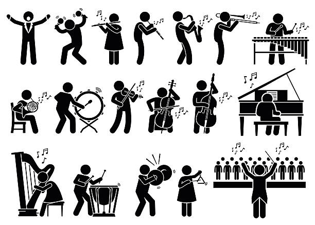Orchestre symphonique des musiciens, des Instruments de de musique illustration - Illustration vectorielle