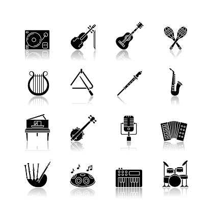 Orchestral instrument drop shadow black glyph icons set