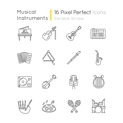Orchestral instrument pixel perfect linear icons set