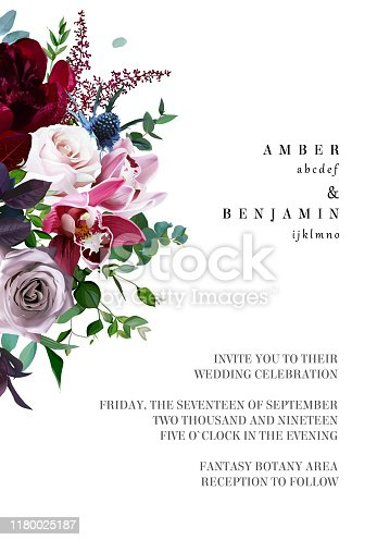 Luxury fall flowers vector design frame. Orchid flower, dusty pink garden rose, burgundy red peony, astilbe, navy blue thistle, greenery. Autumn wedding bunch of flowers. Isolated and editable