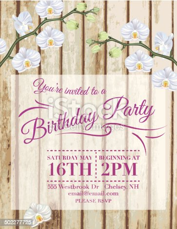 Orchids Birthday Party vertical Invitation Template.  The poster has two orchid branches with flowers along the top.  Under the orchid branches is a beige square with Birthday party text on it.  The invitation is on a tan and beige woodgrain vertical plank background.