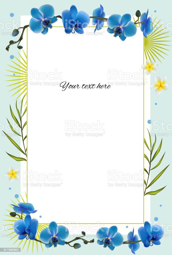 Ilustración de Orquideas Flores Tropicales Fondo Floral Azul Plantas ...