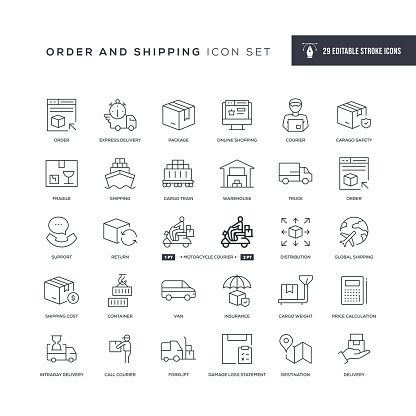 Order and Shipping Editable Stroke Line Icons