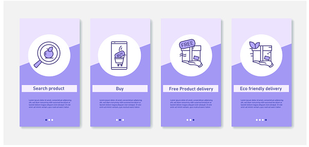 Order and shipping process mobile app. Online shopping. UI, UX, web template with RGB color linear icons