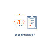 Order checklist, small retail business, grocery store, clipboard vector line icon, thin stroke