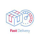 Order delivery, linear design, fast shipment, express shipping, waiting postal parcel, timely distribution, courier service, transportation company, logistics solution, vector thin line icon