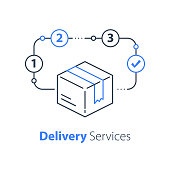 Order delivery, linear design, fast shipment, express shipping, postal parcel, distribution concept, courier service, transportation company, logistics solution, vector thin line icon