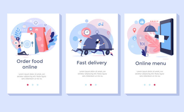 주문 음식 온라인 배너. - food delivery stock illustrations