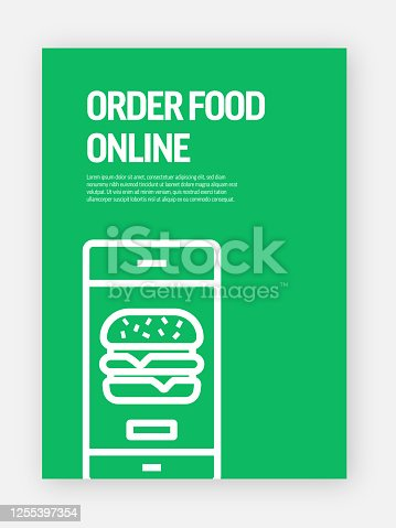 istock Order Food Online Concept Template Layout Design. Modern Brochure, Book Cover, Flyer Design Template 1255397354