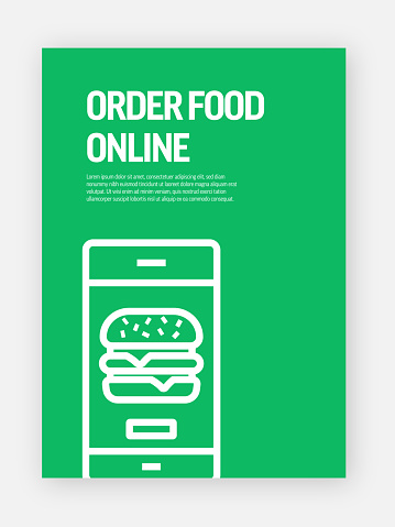 Order Food Online Concept Template Layout Design. Modern Brochure, Book Cover, Flyer Design Template