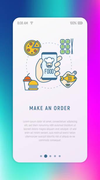 bildbanksillustrationer, clip art samt tecknat material och ikoner med beställa mat online via mobilapp: sushi, snabbmat, pizza, fisk tunn linje ikoner. moderna vektorillustration för användargränssnittet. - on demand