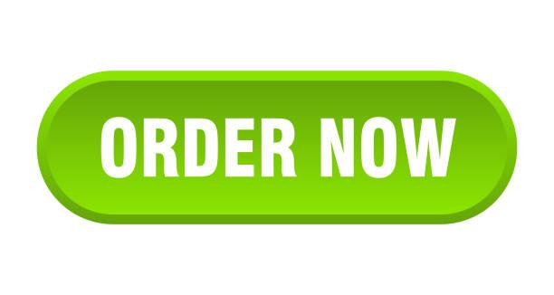 stockillustraties, clipart, cartoons en iconen met knop nu bestellen. bestel nu afgerond groen teken. bestel nu - opruimen