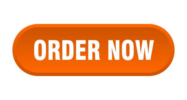jetzt-taste bestellen. bestellen sie nun gerundet es orange zeichen. jetzt bestellen - bestellen stock-grafiken, -clipart, -cartoons und -symbole