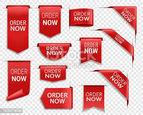 istock Order now red ribbons, shopping web banners 1220279295