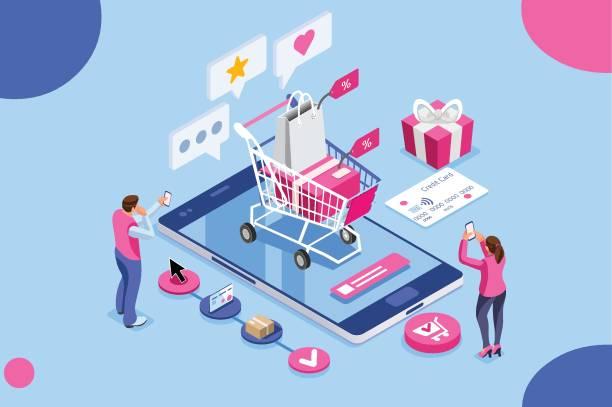 bildbanksillustrationer, clip art samt tecknat material och ikoner med beställ online shopping koncept - on demand