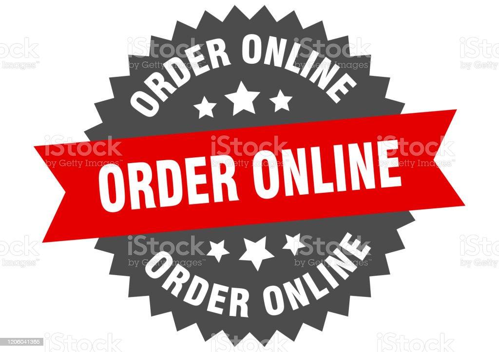 bestel online teken. online circulair bandlabel bestellen. ronde bestelling online sticker - Royalty-free Badge vectorkunst