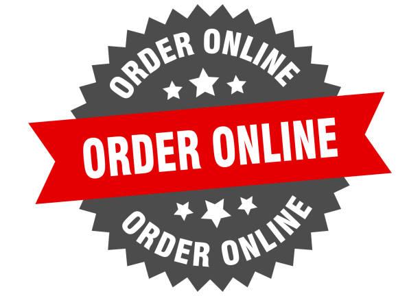 stockillustraties, clipart, cartoons en iconen met bestel online teken. online circulair bandlabel bestellen. ronde bestelling online sticker - opruimen