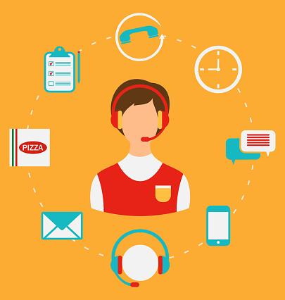 Order Pizza Online Call Center Home Delivery Stockvectorkunst En Meer Beelden Van Avondmaaltijd Istock