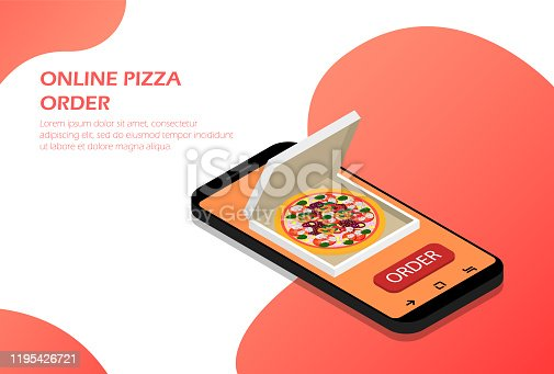 Order pizza online in your phone isometric vector.