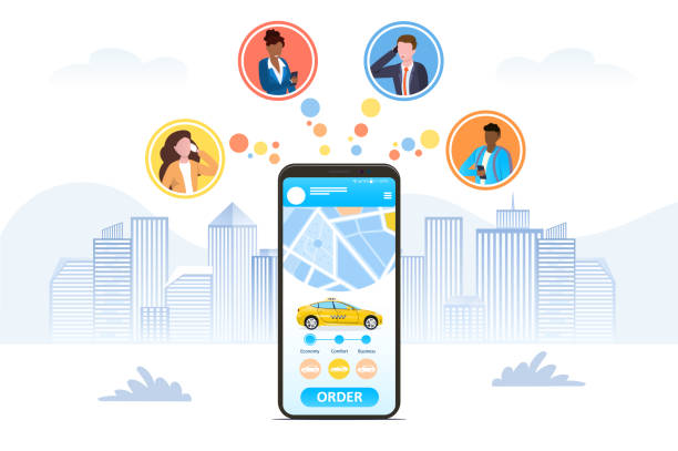 Ordering a Taxi online using a hailing app Ordering a Taxi online using a hailing app depicted on a mobile phone screen with icons for four businesspeople in a city using the app, colored vector illustration hailing a ride stock illustrations