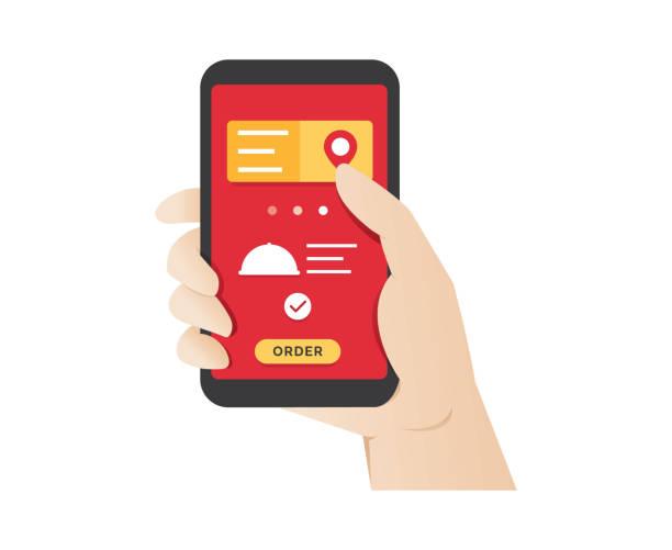 lebensmittelbestellung über mobile online-anwendungen - bestellen stock-grafiken, -clipart, -cartoons und -symbole