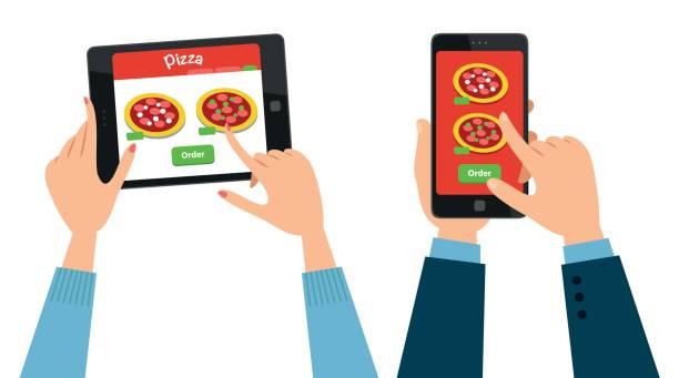 bildbanksillustrationer, clip art samt tecknat material och ikoner med beställa pizza online - on demand