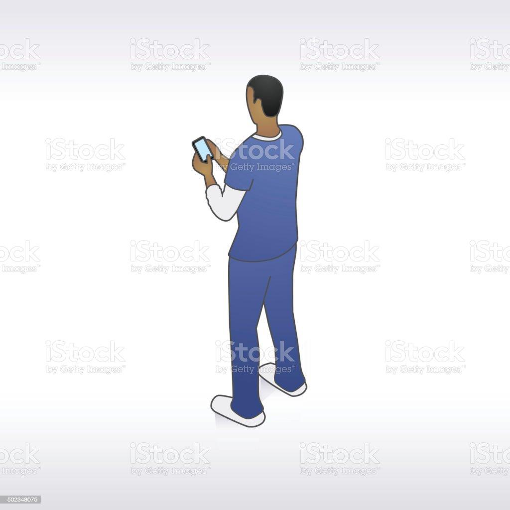 Orderly with Phone Illustration vector art illustration