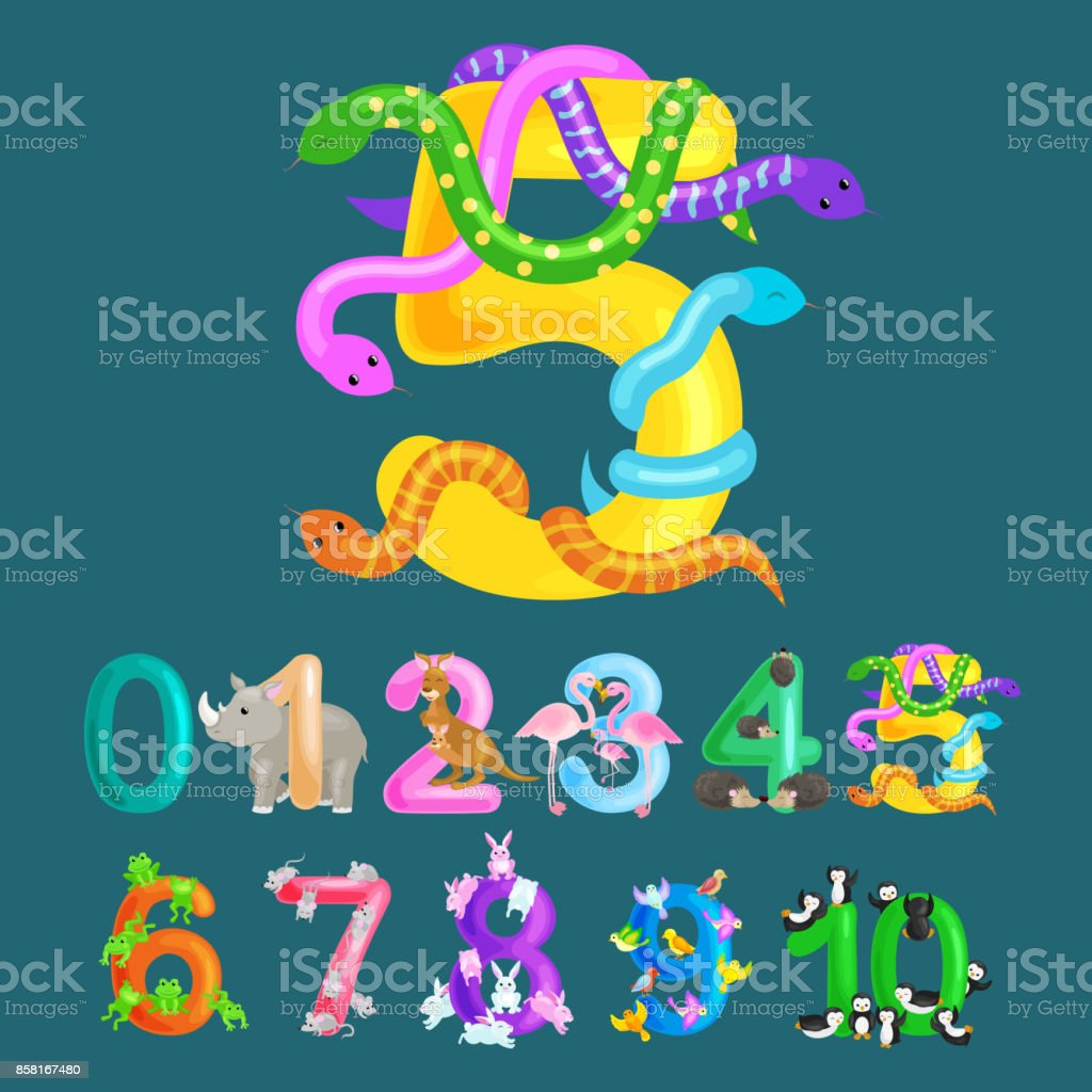 Ordinal Number Five For Teaching Children Counting Snake With The ...