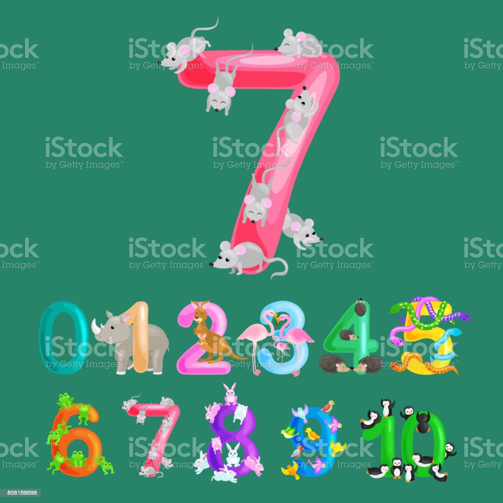 ordinal numbers for teaching children counting with the ability to calculate amount animals abc alphabet kindergarten books or elementary school posters collection vector illustration vector art illustration