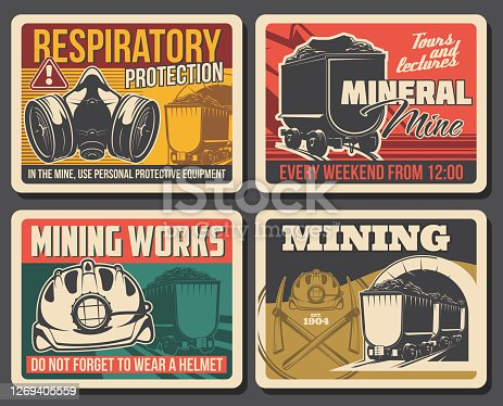 Ore and coal mining poster, mine industry factory and miner equipment, vector. Mining machinery and tools at coal and metal ore deposit quarry, miner wheelbarrow and respiratory protection sign