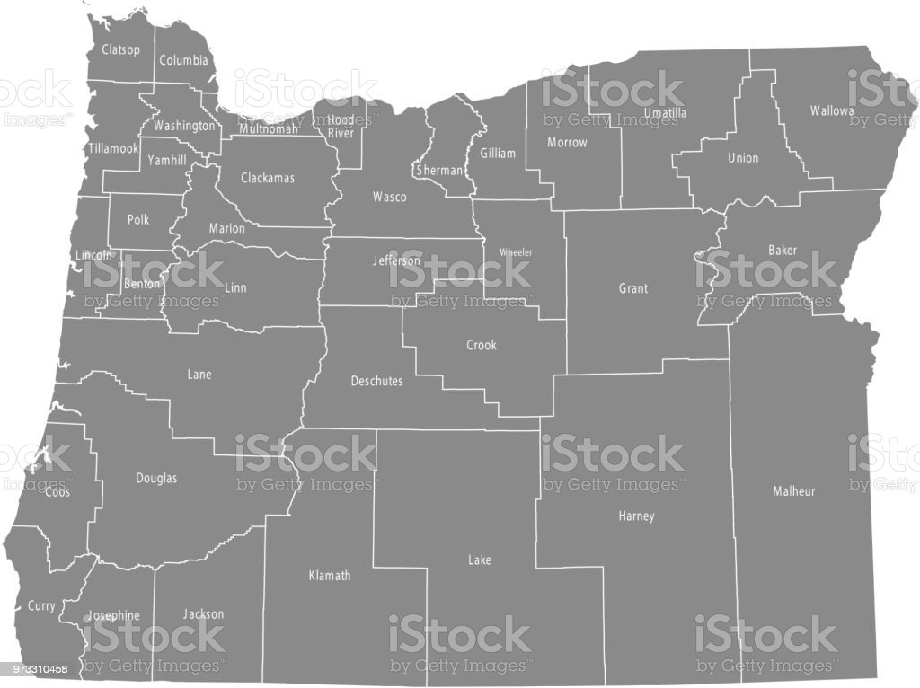 Oregon County Map Vector Outline Gray Background Map Of Oregon State ...