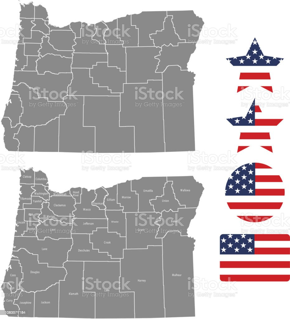 Oregon County Map Vector Outline In Gray Background Oregon