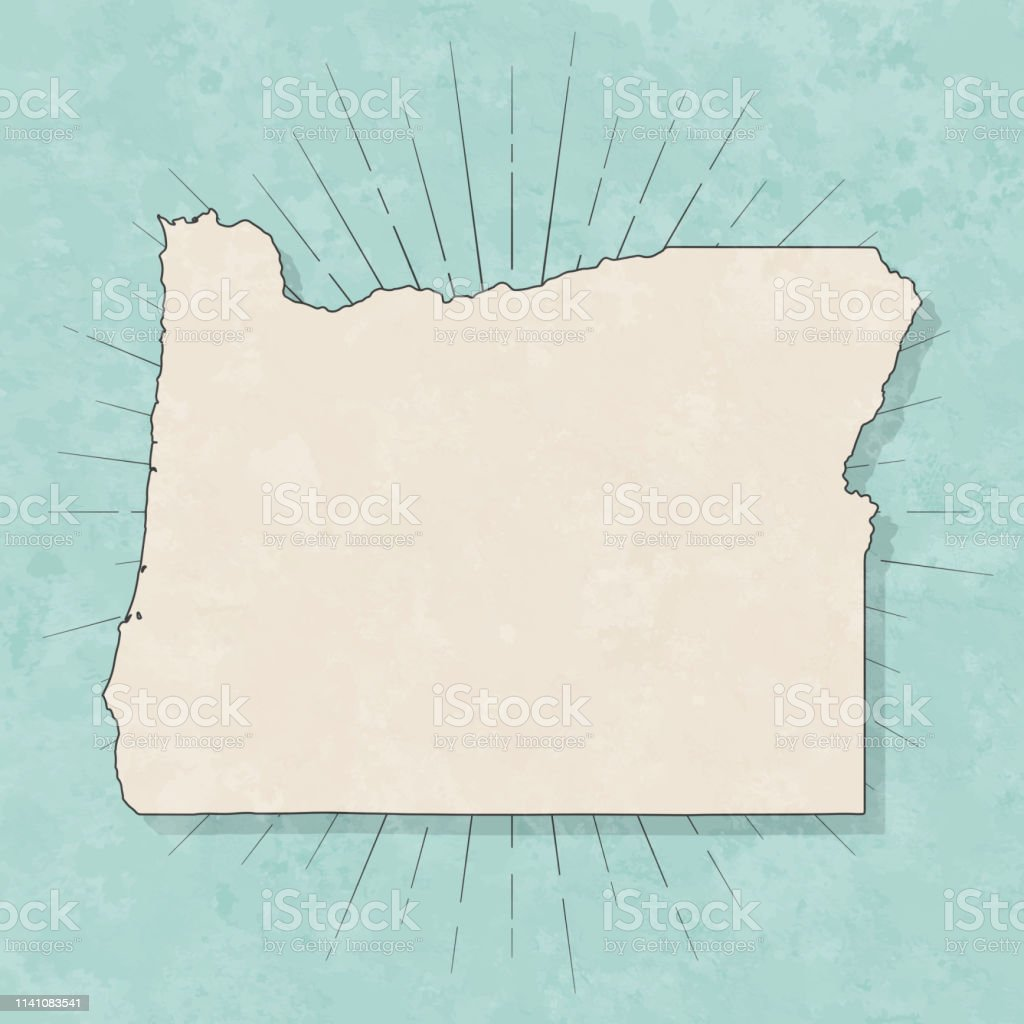 Map of Oregon in a trendy vintage style. Beautiful retro illustration...