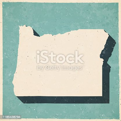 Map of Oregon in a trendy vintage style. Beautiful retro illustration with old textured paper and a black long shadow (colors used: blue, green, beige and black). Vector Illustration (EPS10, well layered and grouped). Easy to edit, manipulate, resize or colorize.