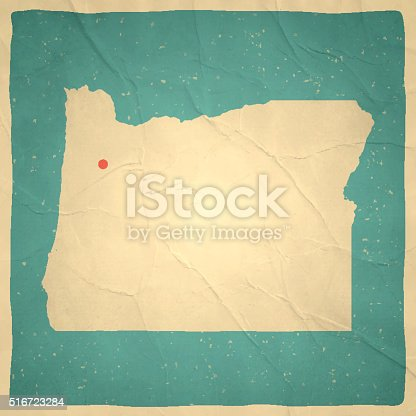 Map of Oregon with a retro style, a vintage effect on an old textured paper.