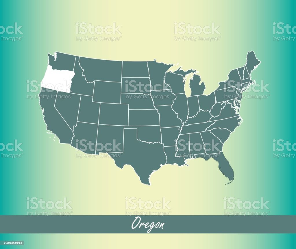 Oregon Map Vector Outline Illustration Highlighted In
