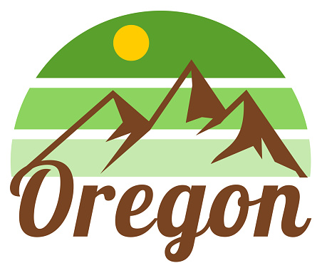 Retro Oregon sunset and mountain label