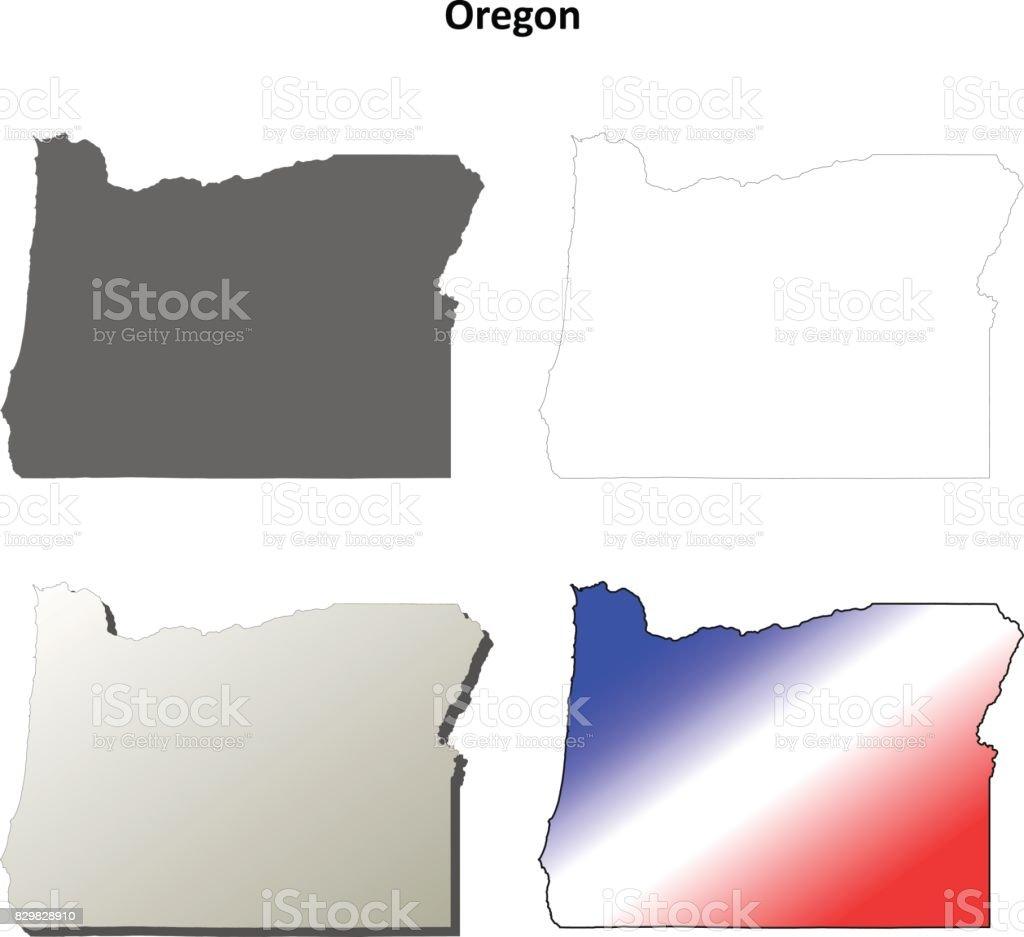 Oregon Outline Map Set stock vector art 829828910 iStock