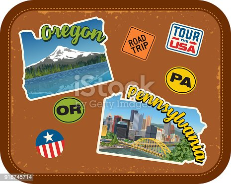 Oregon, Pennsylvania travel stickers with scenic attractions and retro text. State outline shapes. State abbreviations and tour USA stickers. Vintage suitcase background
