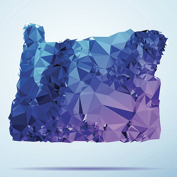 Oregon Polygon Triangle Map Blue Abstract Polygon Triangle vector map of Oregon State, USA. File was created in DMesh Pro and Adobe Illustrator on October 21, 2014. The colors in the .eps-file are in RGB. Transparencies used. Included files are EPS (v10) and Hi-Res JPG (5035 x 5035 px). map crystal stock illustrations