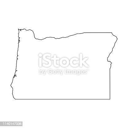 Oregon, state of USA - solid black outline map of country area. Simple flat vector illustration.