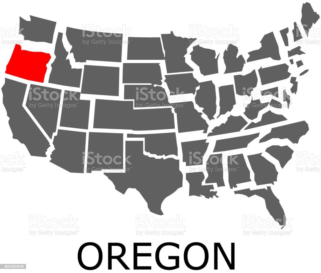 Oregon State On Usa Map Stock Vector Art IStock - Oregon map us