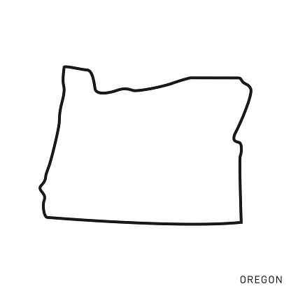 Oregon - States of USA Outline Map Vector Template Illustration Design. Editable Stroke. Vector EPS 10.