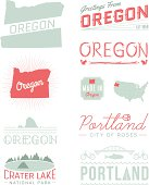 A set of vintage-style icons and typography representing the state of Oregon, including Portland and Crater Lake. Each items is on a separate layer. Includes a layered Photoshop document. Ideal for both print and web elements.