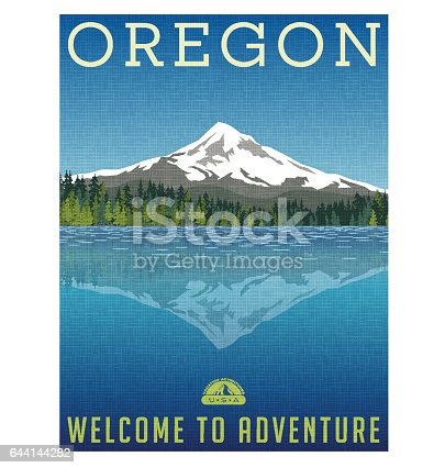 Oregon, United States travel poster or luggage sticker. Scenic illustration of Mt. Hood behind lake with reflection.